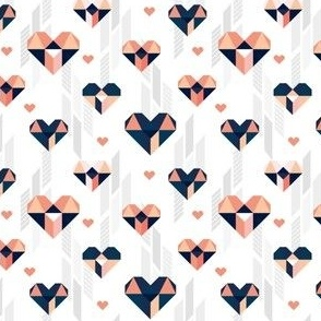 Geometric Heart Day Pastel Coral & Blue