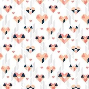 Geometric Heart Day Pastel Pink & Blue