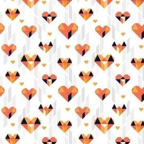 Geometric Heart Day Orange and Blue