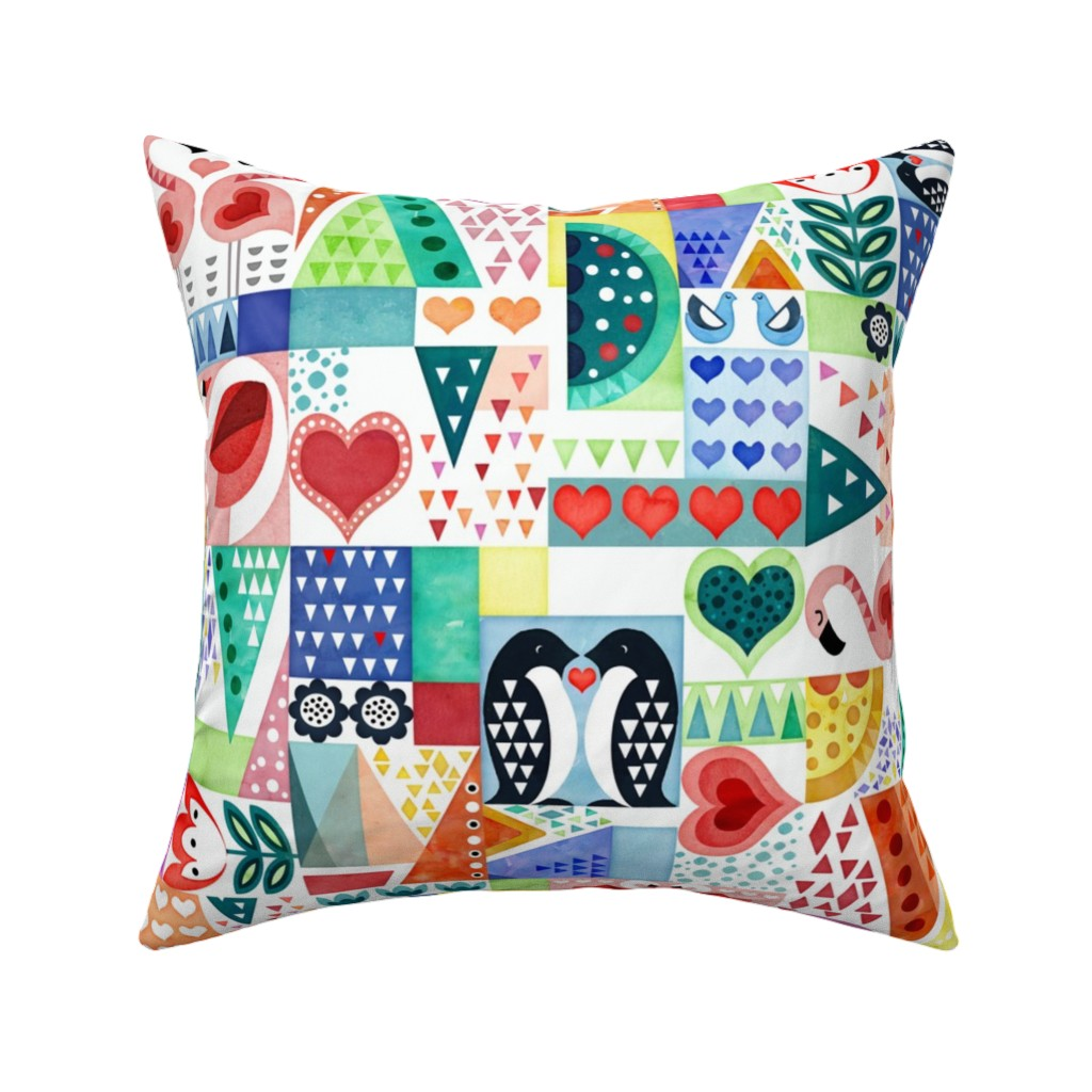Catalan Throw Pillow featuring Love Birds by adenaj