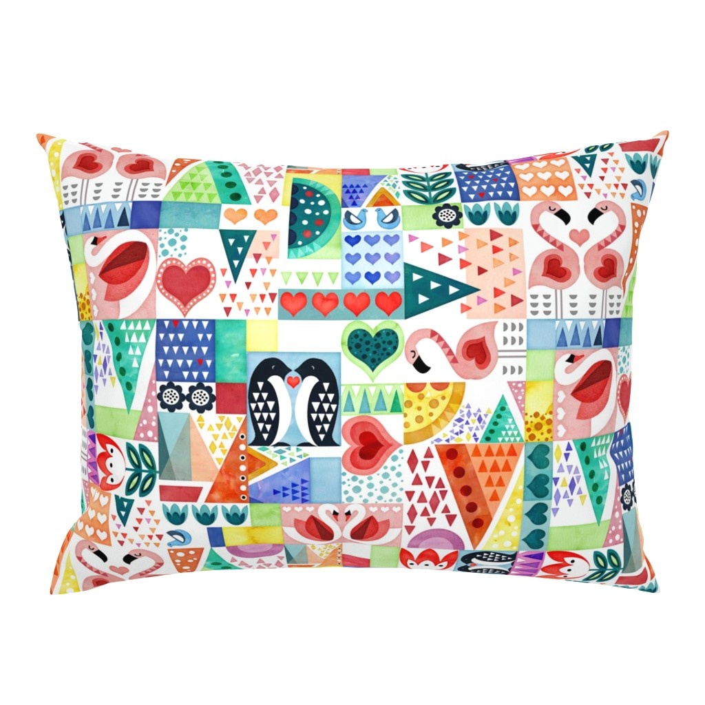 Campine Pillow Sham featuring Love Birds by adenaj