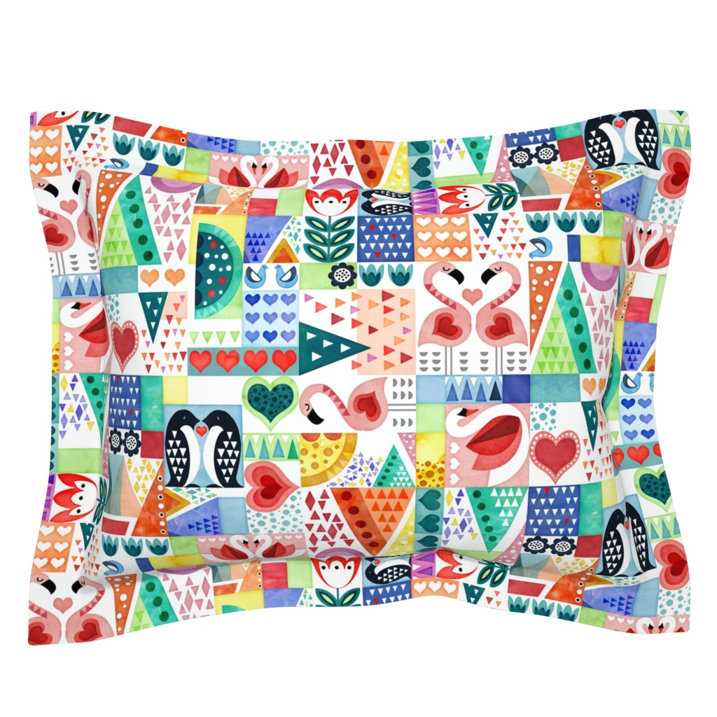Sebright Pillow Sham featuring Love Birds by adenaj