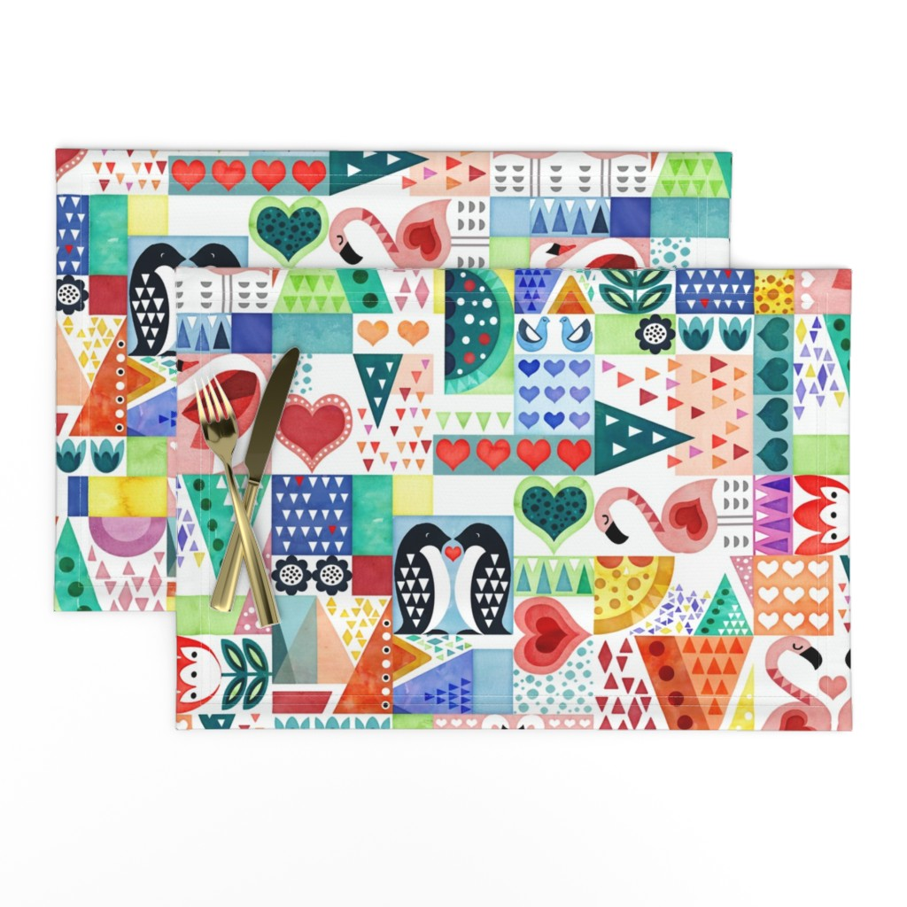 Lamona Cloth Placemats featuring Love Birds by adenaj
