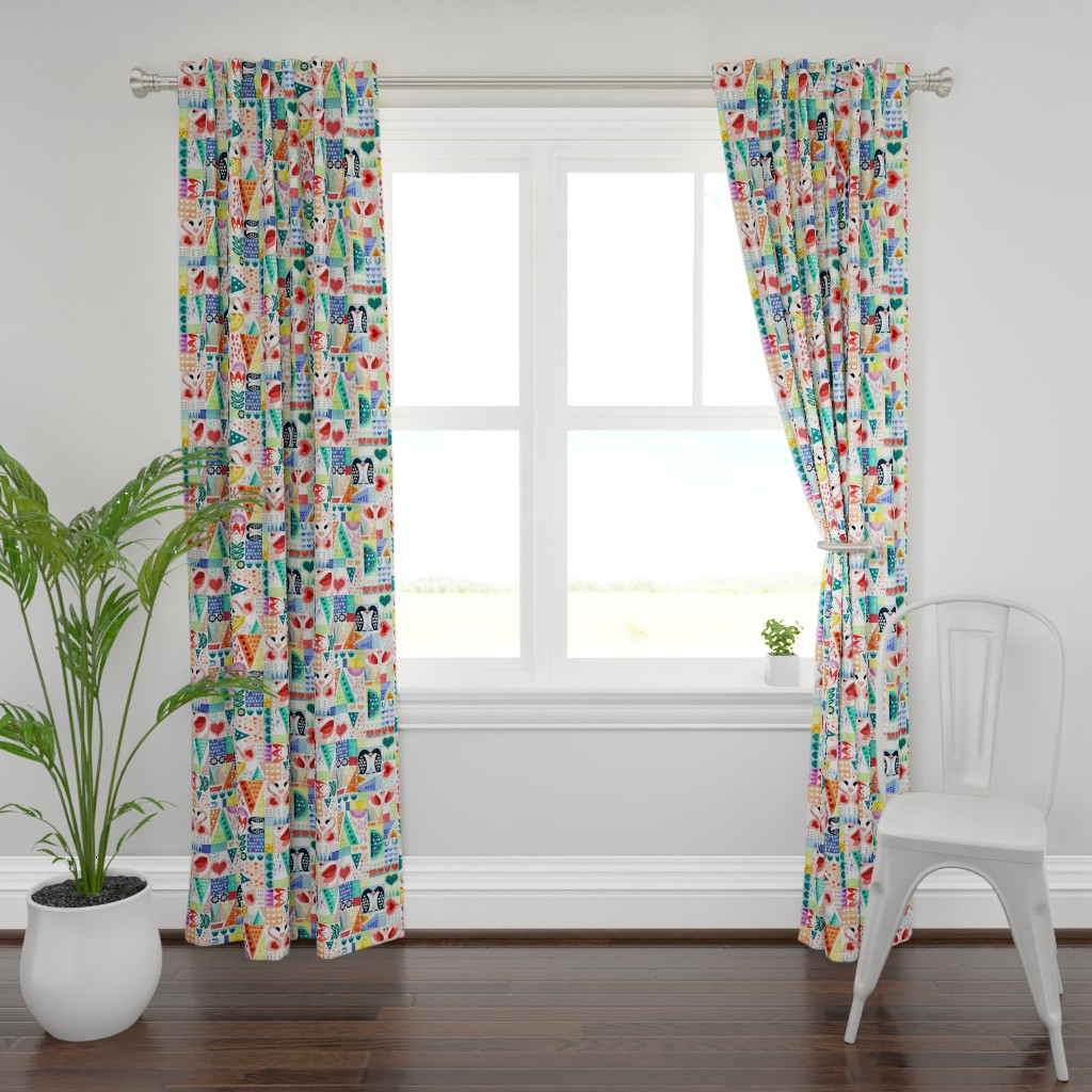 Plymouth Curtain Panel featuring Love Birds by adenaj