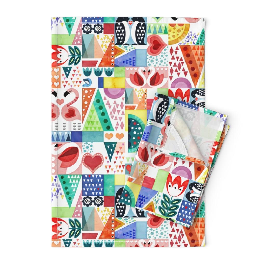 Orpington Tea Towels featuring Love Birds by adenaj