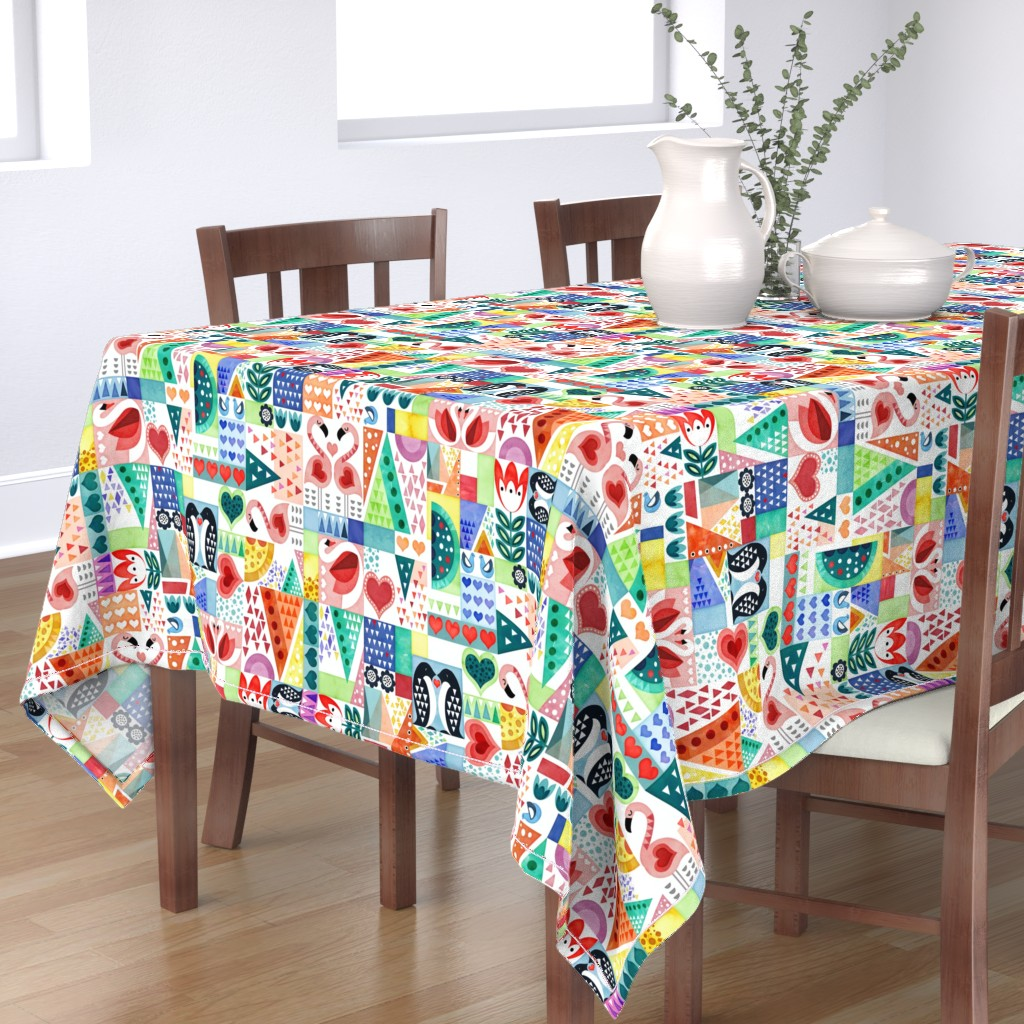 Bantam Rectangular Tablecloth featuring Love Birds by adenaj