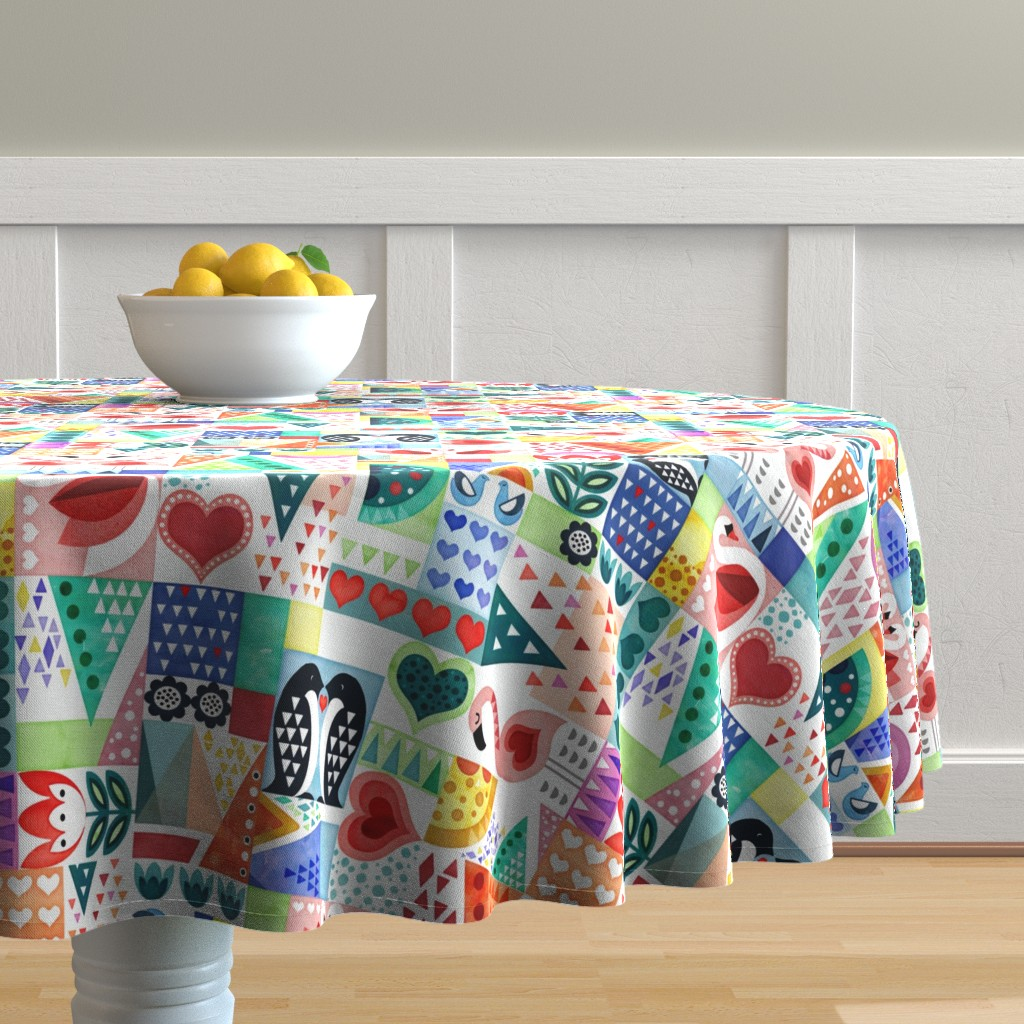 Malay Round Tablecloth featuring Love Birds by adenaj