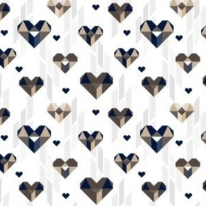 Geometric Heart Day Blue Gray