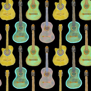 Painted Guitars with Black Background