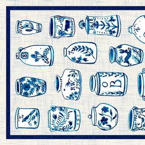 Vintage pots tea towel design