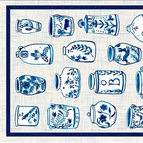 Four vintage pots tea towel layout