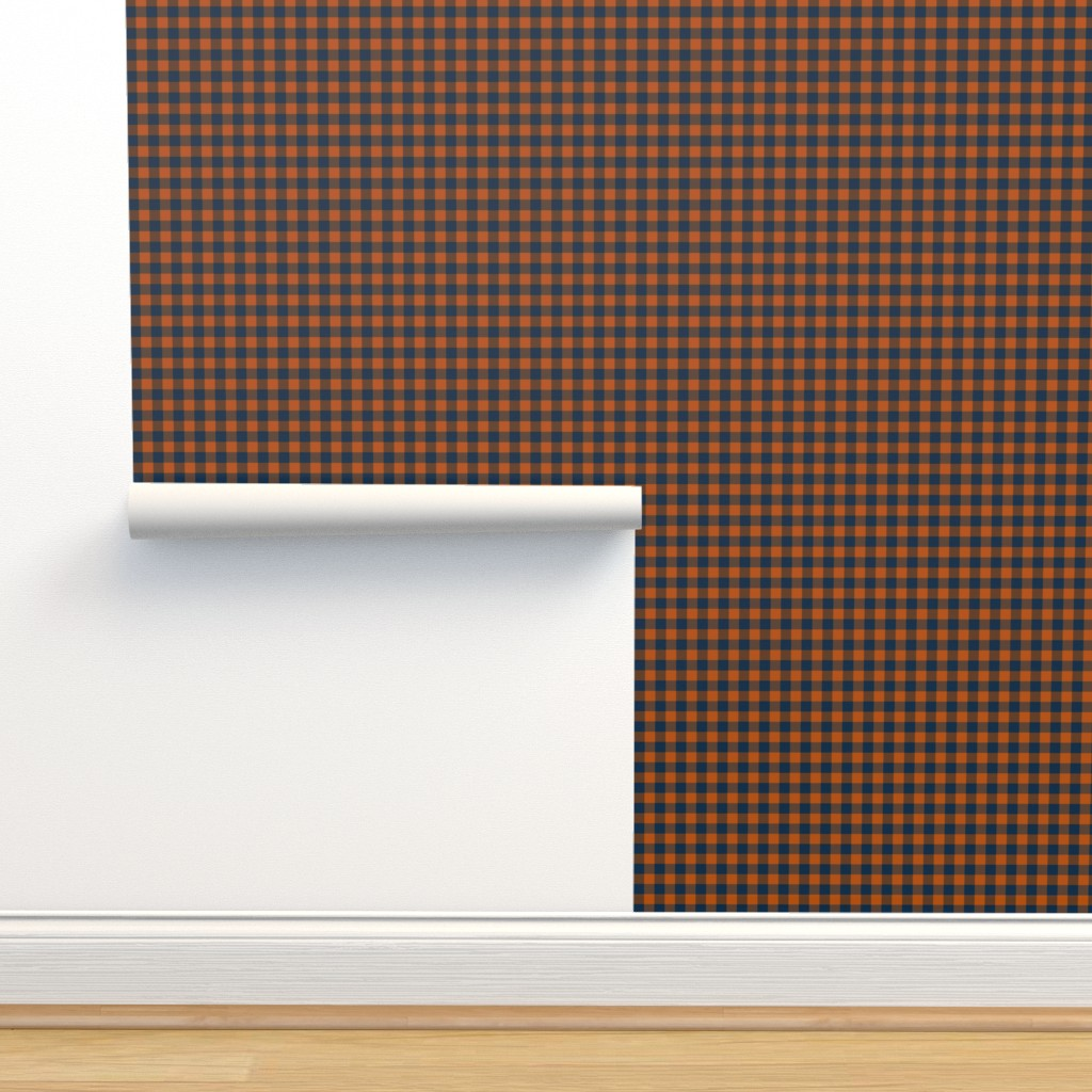 Isobar Durable Wallpaper featuring plaid camp orange navy by wren_leyland