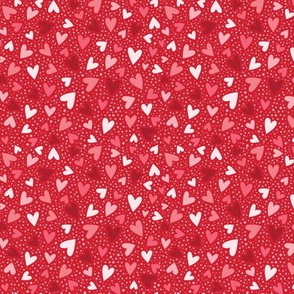Heart Confetti on Red