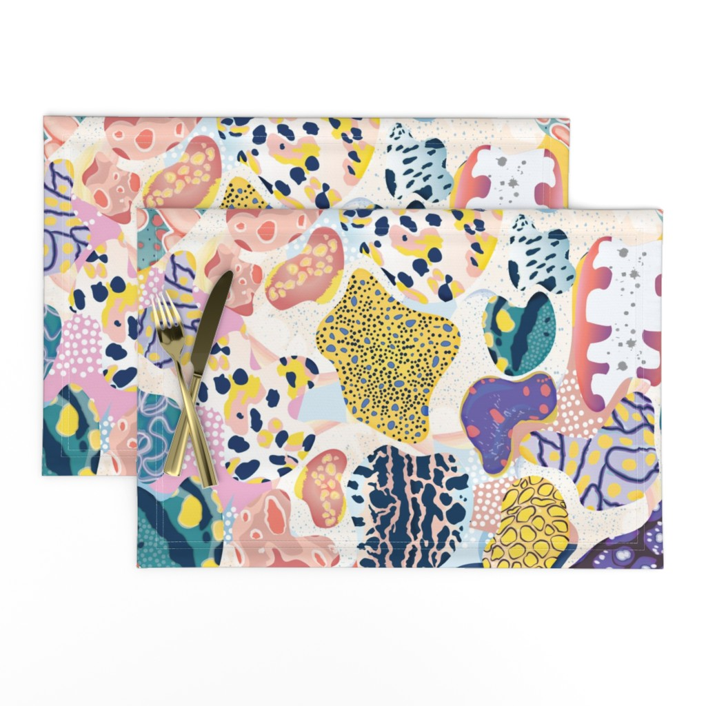 Lamona Cloth Placemats featuring Sea Slug Animal Print - Fat Quarter Scale by bound_textiles
