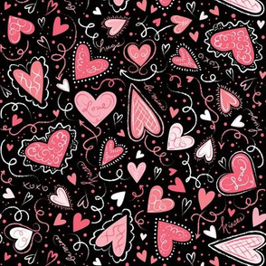 Love Hearts Pink on Black