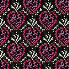 Heart & Leaves - Hot Pink, H White, Black