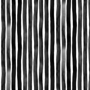 Black Watercolor Vertical Stripes by Friztin