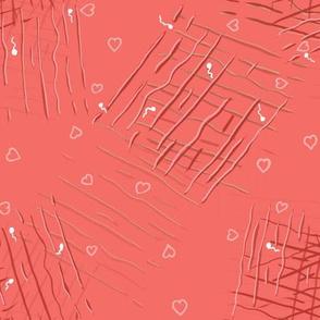 Pantone Coral Mini hearts