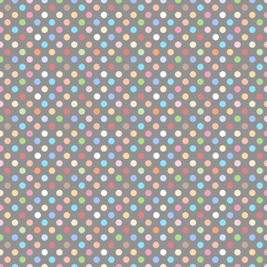 Colorful Polka Dots on Gray