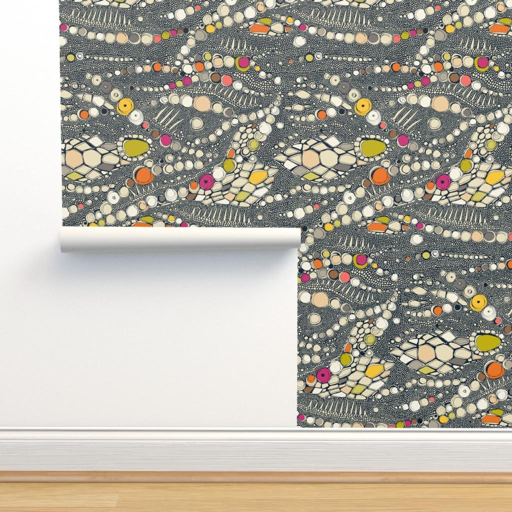 Isobar Durable Wallpaper featuring iguana skin indigo pop by scrummy