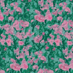 Pink Flowers Abstract Watercolor