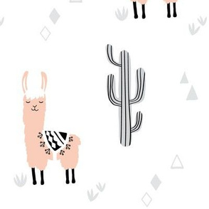 large llamas and cacti blush