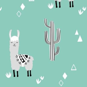 large llama and cacti mint