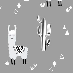 llamas and cacti - gray large