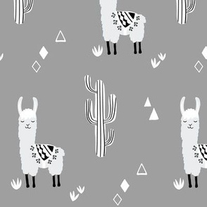 small llamas and cacti gray