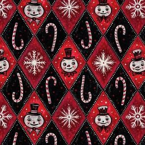 Frosty Red Diamond Snowmen