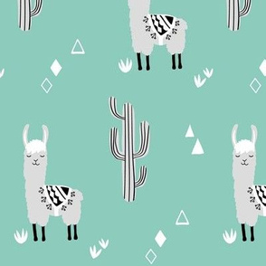 small llamas and cacti mint