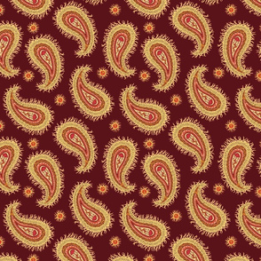 Yellow Paisley on red