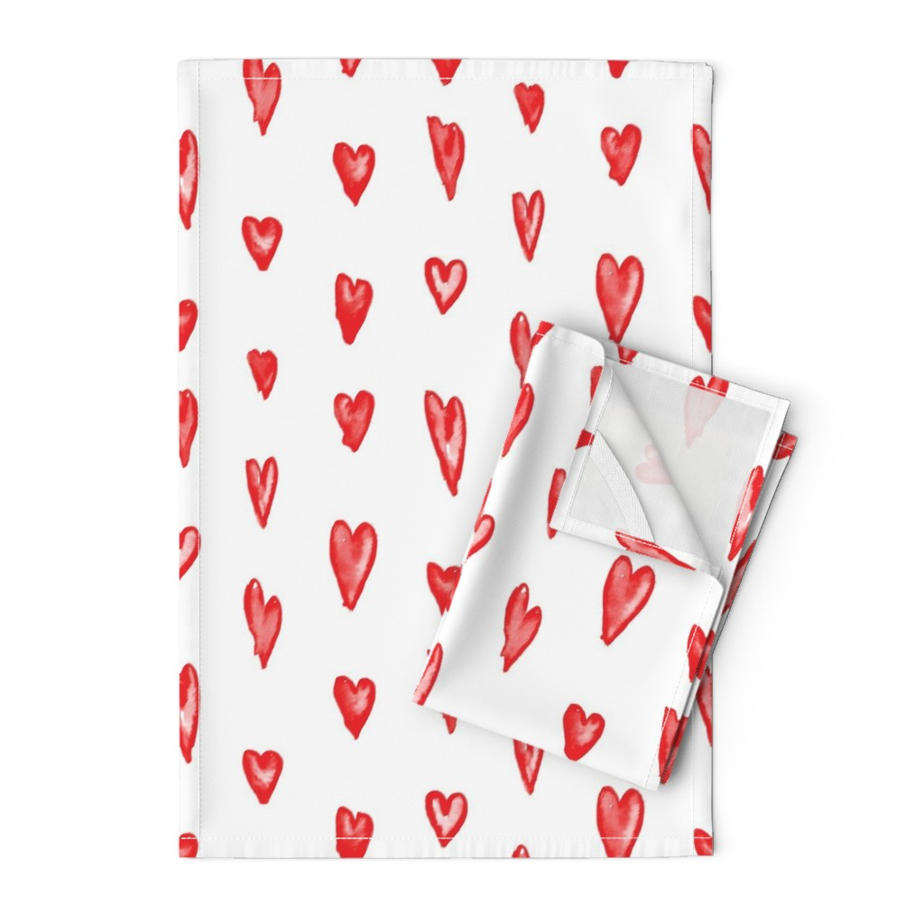 Orpington Tea Towels featuring Watercolor Hearts by autumn_musick