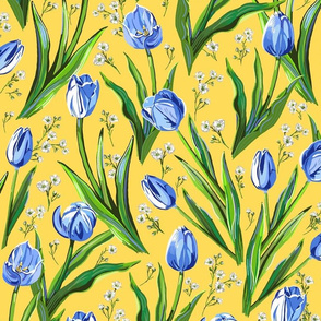 Blue Tulips + Babys Breath | Yellow