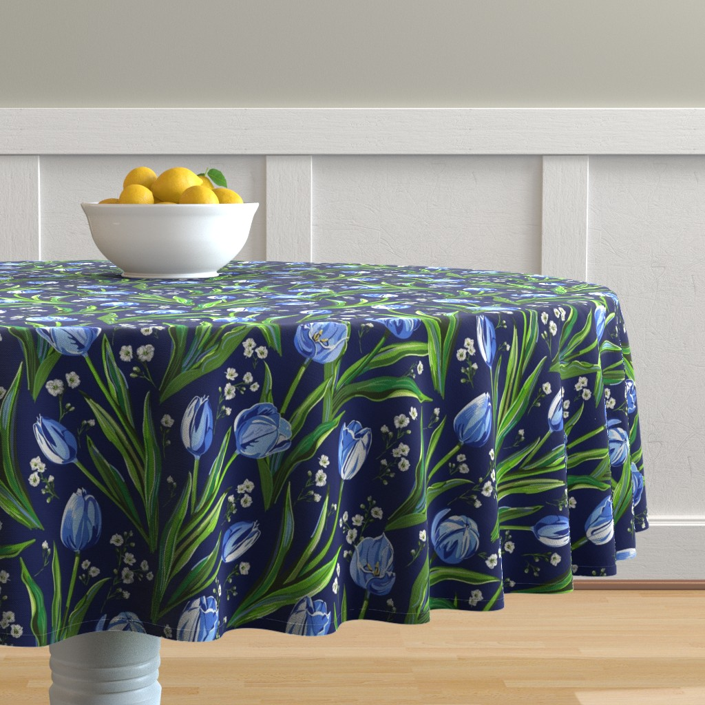 Malay Round Tablecloth featuring Blue Tulips + Babys Breath | Navy by southwind
