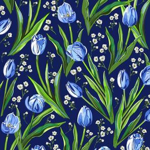 Blue Tulips + Babys Breath | Navy
