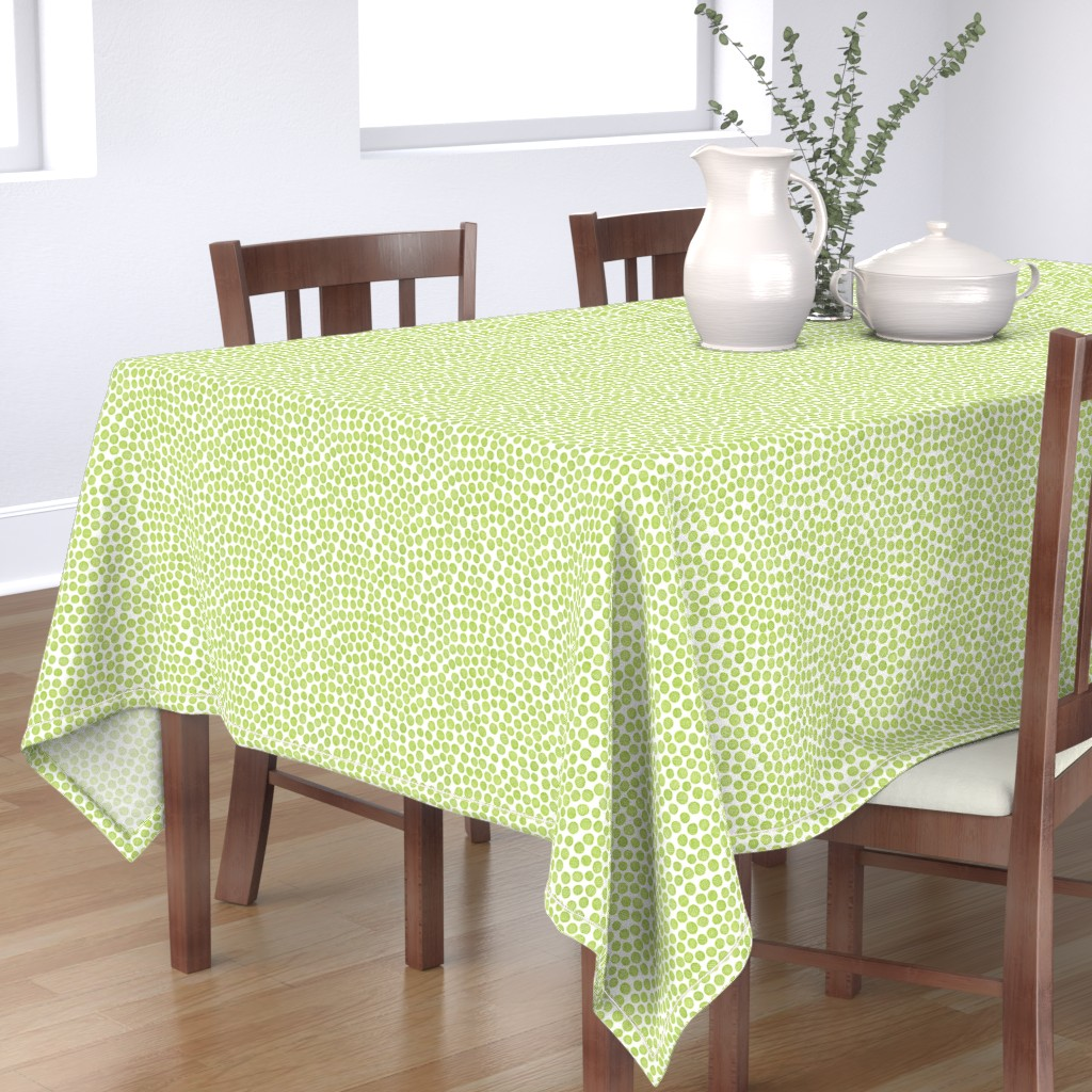 Bantam Rectangular Tablecloth featuring hatched pen and ink polkadots - lime green  by weavingmajor