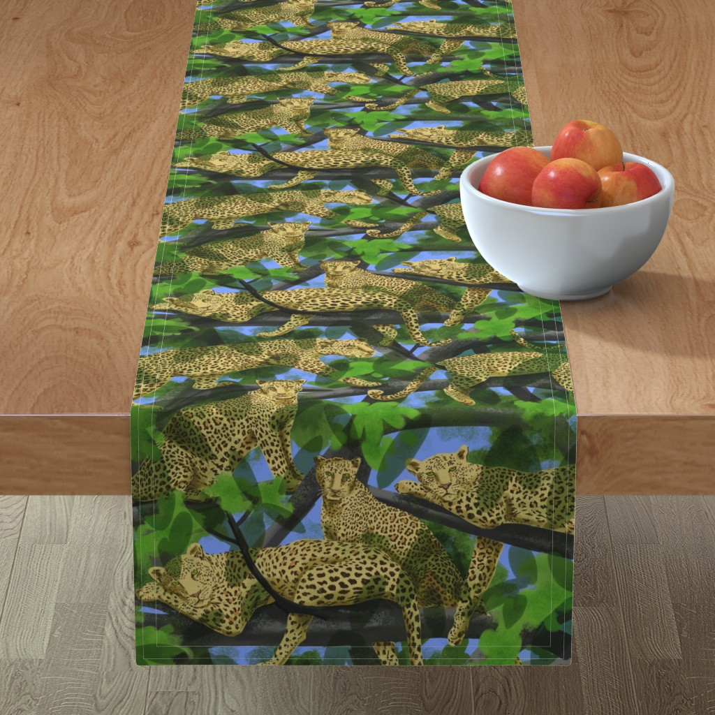 Minorca Table Runner featuring Lazy Leopards by vinpauld