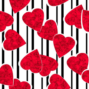 With love Valentines Day red hearts striped white black background