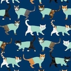 cats in scrubs pattern fabric, - dentist, doctor, nurse scrubs fabric, cat lady pattern, cats pattern fabric, pet friendly - navy