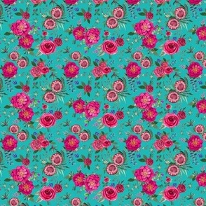 Watercolor Holiday Flowers, Christmas Floral Pink watercolor // pink and teal floral