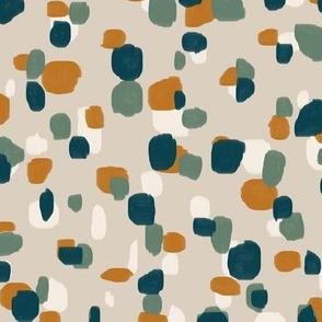 random spots in teal, olive, burnt orange and cream