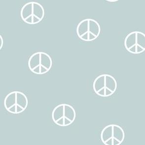 SMALL peace sign fabric - mist sfx4405 -  boho hippie fabric, earth toned kids bedding, neutral nursery fabric