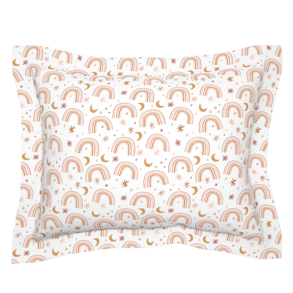 Sebright Pillow Sham featuring LARGE - rainbow moon fabric - neutral palette, nursery, gender neutral baby, rainbow, earth tone nursery, by sage&finch
