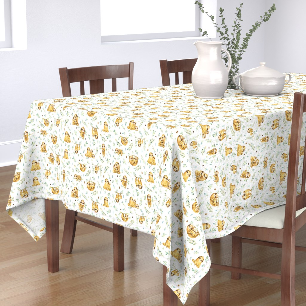 Bantam Rectangular Tablecloth featuring Sloths Hangin On – Children's Bedding Baby Boy Nursery, SMALL Scale by gingerlous