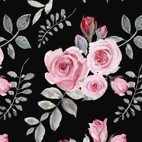 Pink Roses - Vintage Watercolor(303)Black