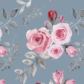 Pink Roses - Vintage Watercolor(303)Blue