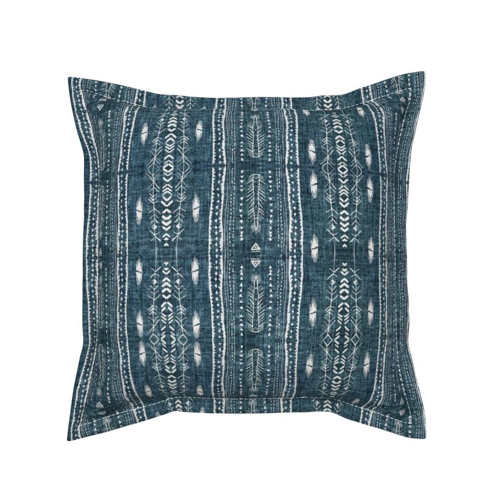 Serama Throw Pillow featuring Atlantis Fleet (navy)  by nouveau_bohemian