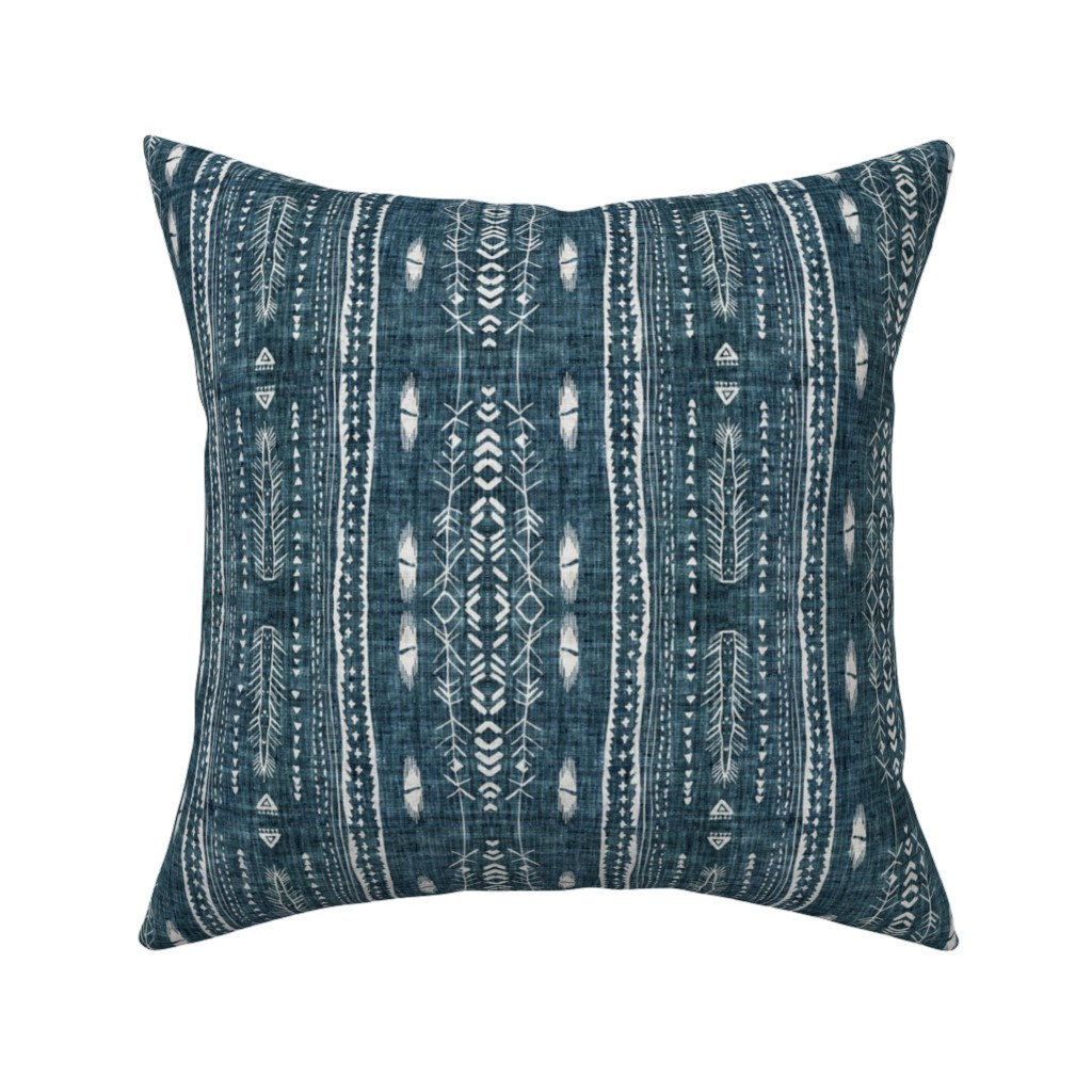 Catalan Throw Pillow featuring Atlantis Fleet (navy)  by nouveau_bohemian