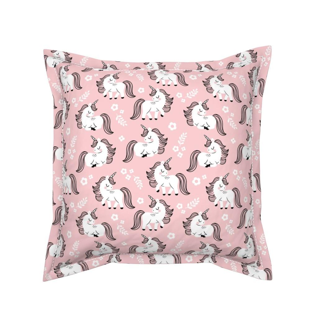 Serama Throw Pillow featuring baby unicorns - light pink, large by mirabelleprint